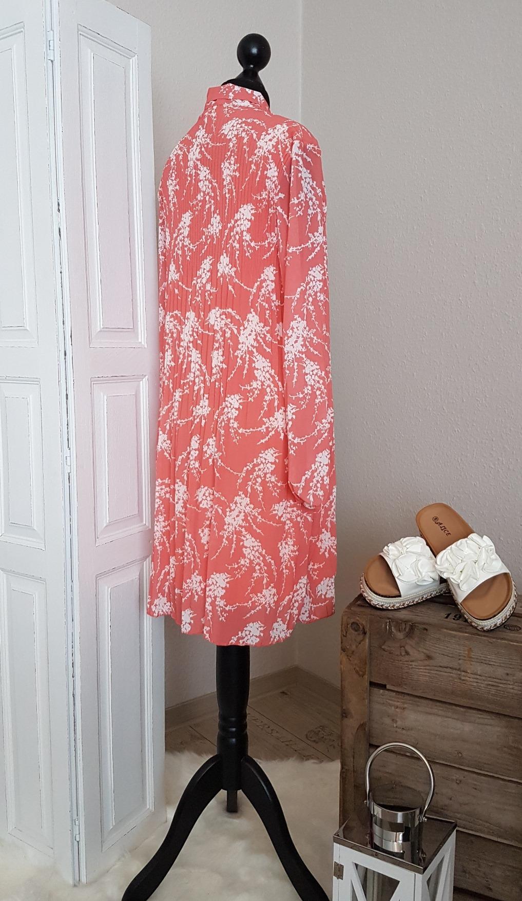 Plissee Blusenkleid mit Schleife - koralle / weiß ...