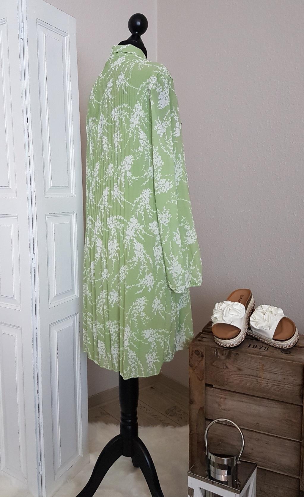 plissee blusenkleid mit schleife - hellgrün / weiß - einheitsgröße (passend  von 36 - 42)